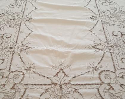 מפת שולחן מיוחדת מכותנה רקומה וינטג אנגלי גדולה 160x280