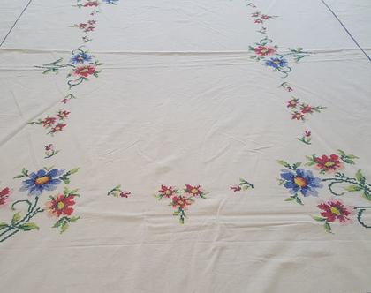 מפת שולחן וינטג רקומה רקמת צלבים 160x220