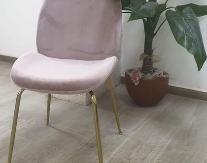 כיסא אוכל קטיפה דגם צדפה צבע ורוד רגל זהב / שחור / ניקל