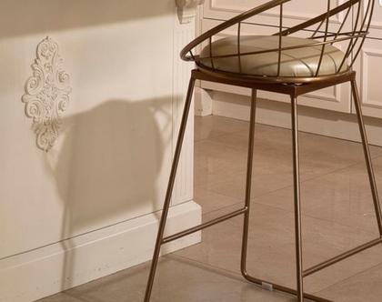 כיסא בר מתכת זהב שילוב מושב דמוי עור דגם פריז