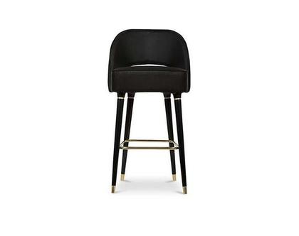 כיסא בר קטיפה שחור דגם ולנסי גימור זהב