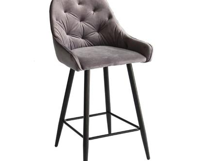 כסא בר קטיפה קפיטונאז' דגם פיזה צבע אפור