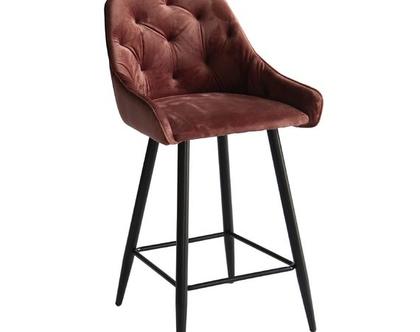 כסא בר קטיפה קפיטונאז' דגם פיזה צבע ורוד