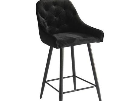 כסא בר קטיפה קפיטונאז' דגם פיזה צבע שחור