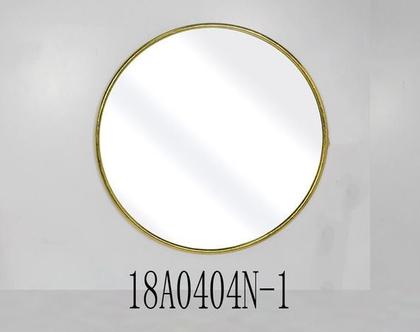 """מראה עגולה, מסגרת ממתכת בצבע זהב – קוטר 60 ס""""מ"""