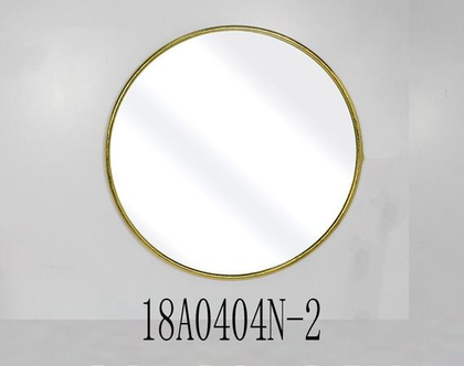 """מראה עגולה, מסגרת ממתכת בצבע זהב – קוטר 80 ס""""מ"""
