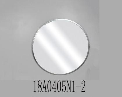 """מראה עגולה, מסגרת ממתכת בצבע כסף – קוטר 80 ס""""מ"""