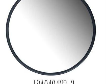 מראה עגולה, מסגרת ממתכת בצבע שחור – קוטר 1.00 מטר