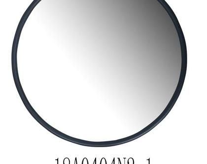 """מראה עגולה, מסגרת ממתכת בצבע שחור – קוטר 60 ס""""מ"""