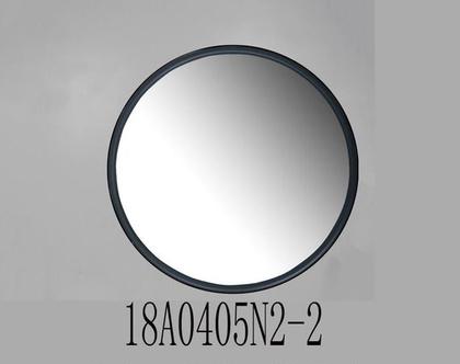 """מראה עגולה, מסגרת ממתכת בצבע שחור – קוטר 80 ס""""מ"""