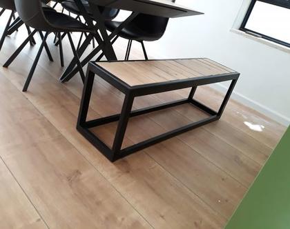 ספסל/שולחן מסגרינה כפולה מעץ אלון ובוק עם רגלי מלבן | ספסל לפינת אוכל | ספסל לאמבטיה | ספסל לחדר שינה | ספסל פסנתר