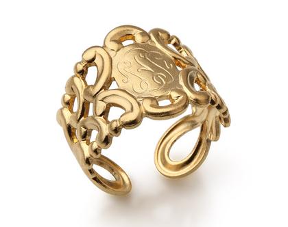 טבעת חותם חרוטה - תכשיט בציפוי זהב לאישה - טבעות לנשים - טבעת מעוצבת - טבעת עם חריטה - טבעת בסגנון וינטג' - טבעות רטרו - מתנה לאישה