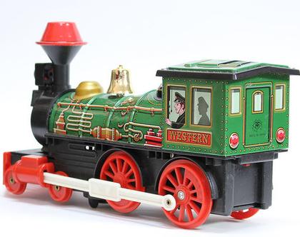 קטר צעצוע וינטאג׳ ירוק, רכבת צעצוע פח וינטאג׳