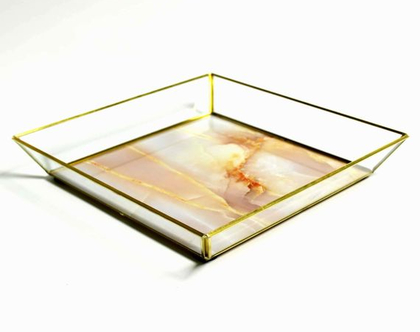 מגש זכוכית דמוי שיש דפנות משופעות