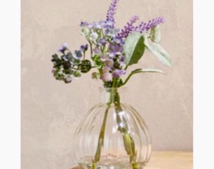 אגרטל זכוכית עגול מקסים עם פרחים מלאכותיים סגלגלים ובירוק | מקסים!!!