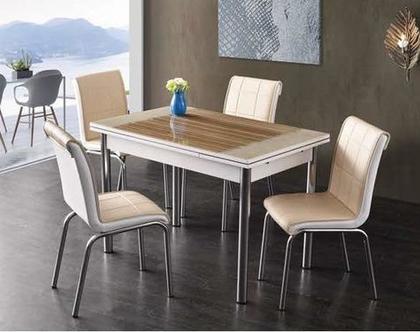 פינת אוכל נפתחת דגם טולוז כוללת 4 כיסאות דמוי עור
