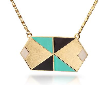 שרשרת גאומטרית-ציפוי זהב ושילוב אמייל צבעוני