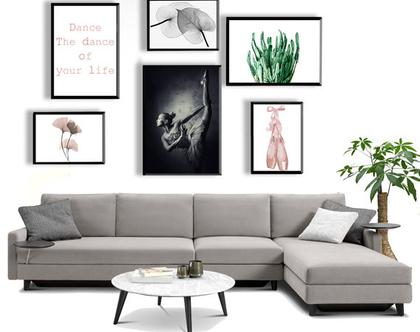 קולאג אבסטרקטי - Ballerina| סט הדפסים בעיצור מקורי | סט תמונות לעיצוב הבית | תמונות לסלון | תמונות מיוחדות לבית
