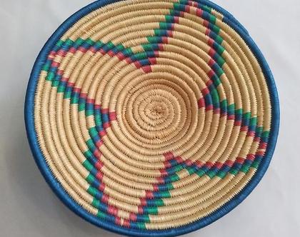 סלסלת קש קלועה בעבודת יד | סלסלה | סלסלת קש אתיופית