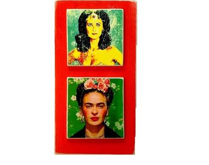 פרידה קאלו, ואנדר ומאן, צמד מורדות על עץ ממוחזר  תמונה לסלון מתנה  עיצוב לבית 