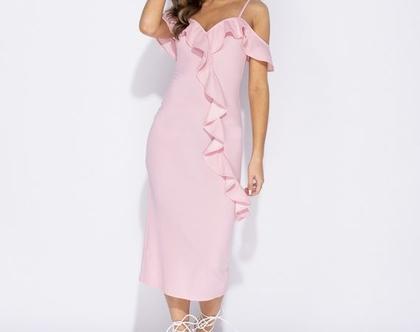 שמלת ערב מידי צבע ורוד | שמלה ורודה מידי | שמלה מידי