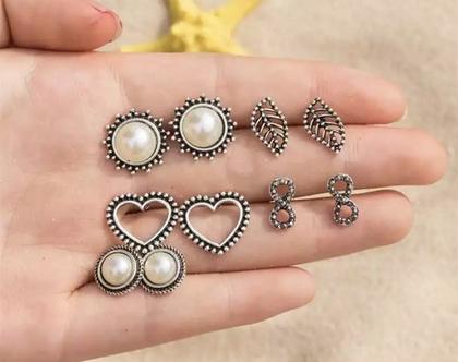 סט של 5 זוגות עגילים צמודים לאוזן, עגילים לאישה, מתנה לאישה, עגילים ליום יום, עגילים ליומיום, עגילים לחתונה, עגילים לאירוע