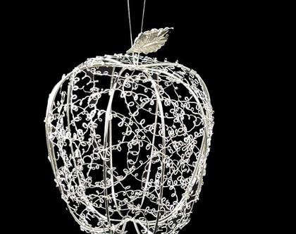 תפוח רשת מתכתי גדול-כסף