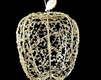 תפוח רשת מתכתי גדול-זהב