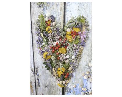 גלויה מצולמת. לב פרחים. פרינט מקורי. צילומים מקוריים. לבנדר. כרטיס ברכה לקיץ. הדפס מקורי. לב צמחים. רוזמרין צילום.