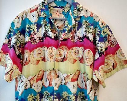 חולצת הוואי לגבר KIWI LINE | חולצת הוואי הדפס פירות מידה L XL