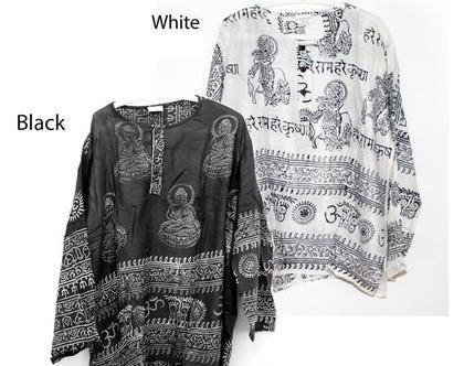 חולצה אתנית עם הדפס מנטרה