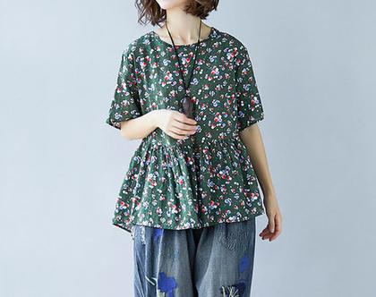 חולצת פרחים ירוקה