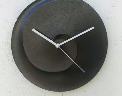 שעון בטון ספירלה בצבע שחור