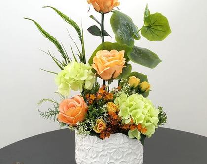 סידור פרחים מלאכותי כתום