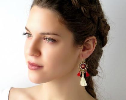 עגילים גדולים בסגנון בוהמי בצבעי אדום ושחור, עגילי גדילים מעוצבים ומיוחדים, עגילים תלויים עבודת יד