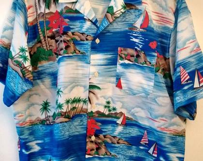 חולצת הוואי כחולה לגבר MICHEEL RICHARDS | חולצת הוואי בהדפס נוף טרופי 20% הנחה וינטג' מקורית מידה L XL