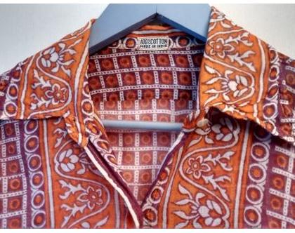 חולצה סבנטיז לאישה בוהו שיק 20% הנחה | חולצה הדפס אתני לאישה וינטג' מקורית מידה S