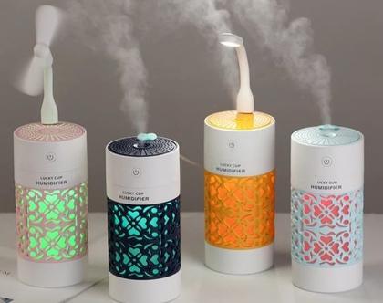 מפיץ ריח ארומאטי מהמם ביופיו לבית מעוצב ב 4 צבעים לבחירה כולל מאוורר ומנורת לד וגם בקבוק שמן ארומאטי טהור מתנה
