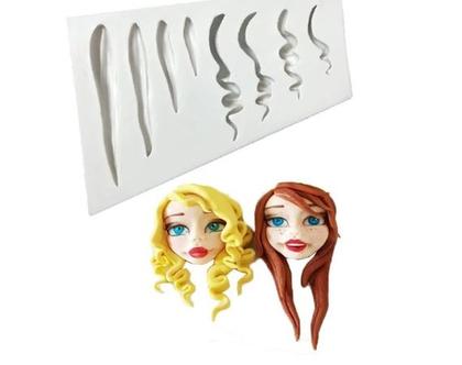 תבנית סיליקון בצורת ראש ושיער, קישוט לעוגה, תבניות לתנור, תבניות לעיצוב , תבניות לעוגה
