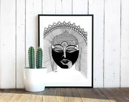 ציור בודהה / תמונה לבית / ציור שחור לבן / ציור בגודל A5 / אקססוריז לבית / תמונה למשרד