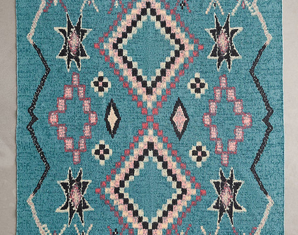 שטיח כותנה מרוקאי בגוון טורקיז