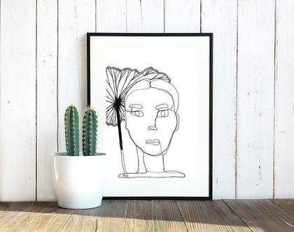 ציור אישה / תמונה לבית / ציור שחור לבן / ציור בגודל A5 / אקססוריז לבית / תמונה למשרד / הדפס למסגור