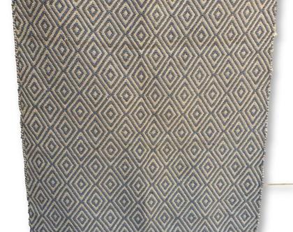 """אזל מהמלאי - שטיח כותנה ויוטה מעויינים טבעי ואפור כהה מלבני 180*120 ס""""מ"""