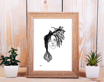 ציור אישה ציפור / ציור לבית / ציור בשחור לבן / ציור בגודל A5 / הדפס למסגור / אקססוריז לבית