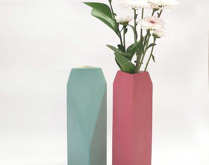 אגרטל גבוה, אגרטל גאומטרי, אגרטל פרחים מקרמיקה, ואזה לפרחים, אגרטלים לבית, אגרטל גדול, עיצוב הבית, עיצוב מינימליסטי, עיצוב מודרני, מתנה לחג