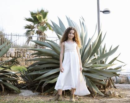 שמלה חגיגית בזהב לילדה , שמלת מקסי ,שמלת מיקה