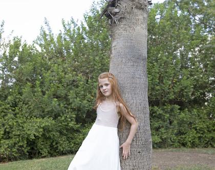 שמלה חגיגית ורודה לילדה , שמלת מקסי ,שמלת מיקה