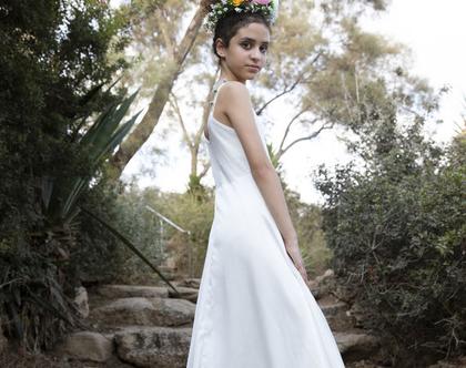 שמלת טול נקודות לילדה , שמלת מקסי ,שמלת מיקה