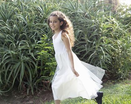 שמלת טול חגיגית לילדה , שמלת מקסי ,שמלת ליה