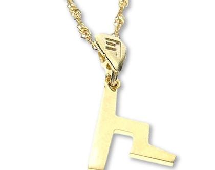 שרשרת תליון זהב בצורת אות עברית קדומה - צ׳